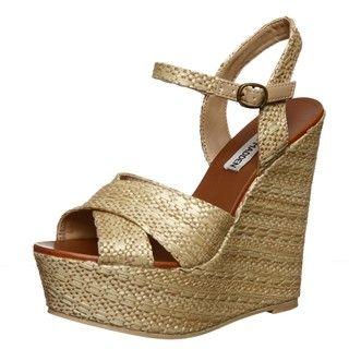 Steve Madden Womens WestII Raffia Platform Wedge Sandals