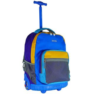 World Neon Blue 18 inch Rolling Backpack