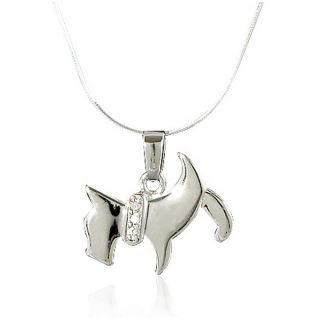 Sterling Silver Scottie Dog Pendant Necklace (18 inch)