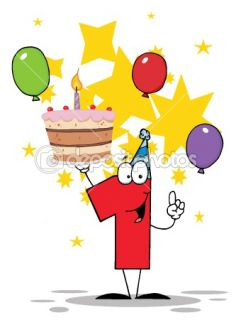 Number One Holding Up A First Birthday Cake With Balloons — Stock