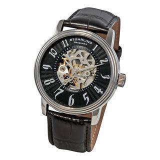 Stuhrling Original Mens Romeo Automatic Black Strap Watch