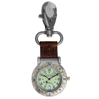 Field & Stream Mens Green Dial Spring Clip Pocket Watch
