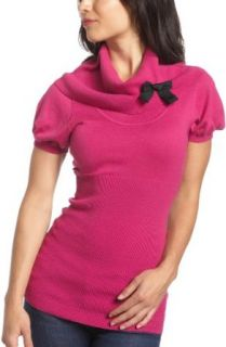 Kensie Girl Juniors Sweater With Bow,Berry Pink Mix,Large