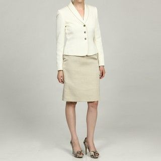 Tahari ASL Womens Ivory/Champagne 3 button Skirt Suit