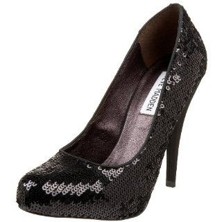 Steve Madden Womens Trinitis Pump,Black Sequin,5 M US Shoes