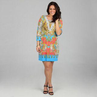 White Mark Womens Plus Venezia Yellow/ Turquoise Dress