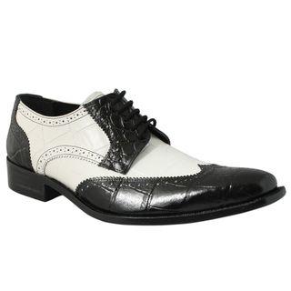 Giorgio Brutini Mens Black/ White Leather Oxfords