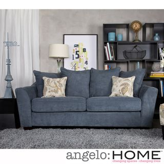 angeloHOME Cooper Twill Blue Stone Pillow back Sofa