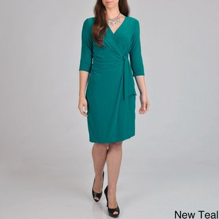 Lennie for Nina Leonard Womens Faux Wrap Dress