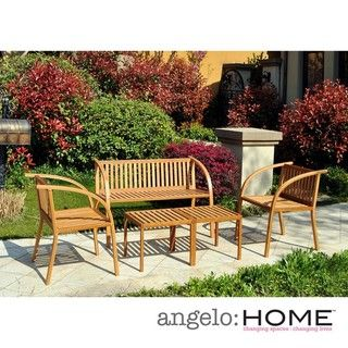 angeloHOME Vineyard Bamboo Garden 5 Piece Indoor/Outdoor Furniture