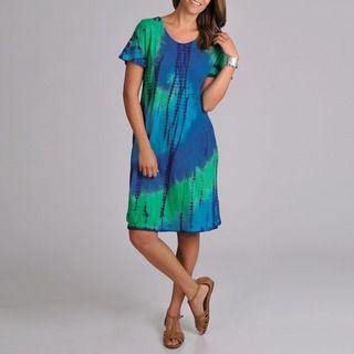 La Cera Womens Tie dye Short Sleeve Dress