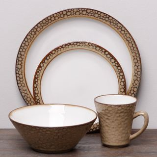 Sango Facets Gold/ White 16 piece Dinnerware Set