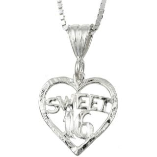 Sterling Essentials Sterling Silver 18 inch Sweet 16 Heart Necklace