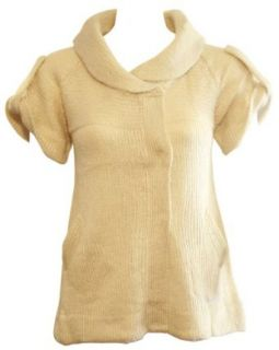 Ladies Beige Short Sleeve Sweater Jacket Snap Button