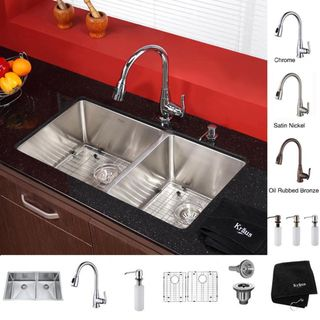 Kraus 33 in Undermount Double Bowl Stainless Steel Kitchen Sink with