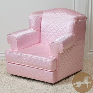 Quilted Sateen Fabric Pink Kids Club Chair