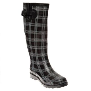 Henry Ferrera Womens Black Plaid Printed Rain Boots