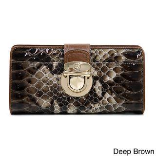 Anais Gvani Trendy Gold Buckled Snakeskin Genuine Leather Bi fold