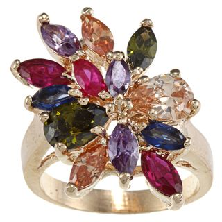 High polish Base Metal Gold Multi jewel Cubic Zirconia Cut Ring
