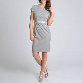 Sharagano Noir Womens Silver Beaded Waist Career Dress