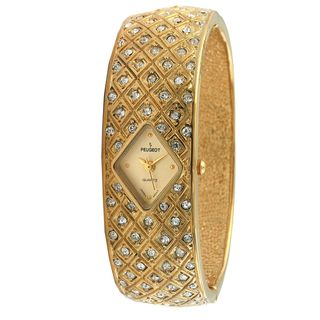 Peugeot Womens Vintage Goldtone Crystal Bangle Watch
