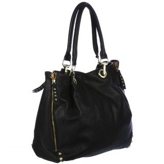 Steve Madden Black Leopard Trim Tote Bag