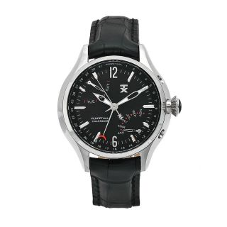 Timex Mens Perpetual Calendar Black Leather Strap Black Dial Watch
