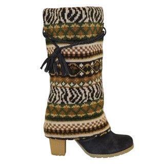 Muk Luks Womens Animal Knit Boots