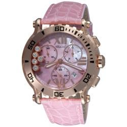 Chopard Womens Happy Sport Rose Gold Diamond Chronograph Watch