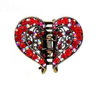 Hair Clip   H49   Filigree Heart set with Swarovski (tm