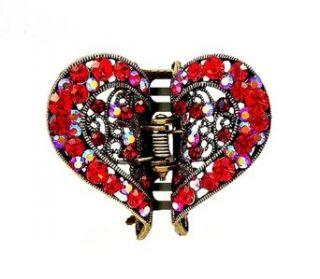 Hair Clip   H49   Filigree Heart set with Swarovski (tm