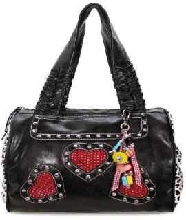 com Womens Designer Inspired Black Heart Stud Bowling Handbag Shoes
