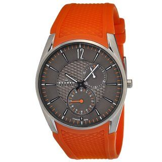 Skagen Womens Titanium Orange Silicone Strap Watch