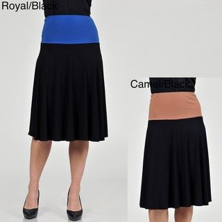 AnnaLee and Hope Womens Jersey Knit Colorblock Skirt