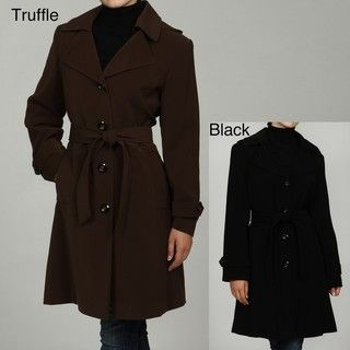 Gallery Womens Belted Trench Coat