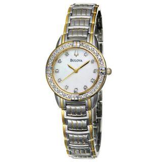 Bulova Womens Diamonds Two tone Stainless Steel Quartz Watch