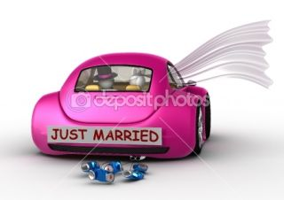 Lifestyle collection   Just married in the car — Foto Stock #9599083