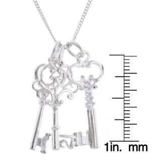 Sterling Essentials Sterling Silver 24 inch Key Charms Necklace