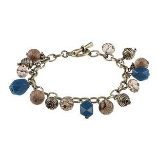 Alexa Starr Silvertone Picture Jasper and Blue Jade Charm Bracelet