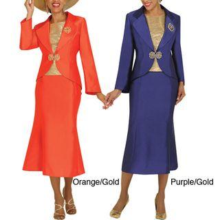 Divine Apparel Textured Gold Tank Womens Skirt Suit