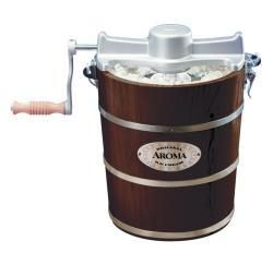 Aroma 4 quart Walnut Wood Barrel Ice Cream Maker