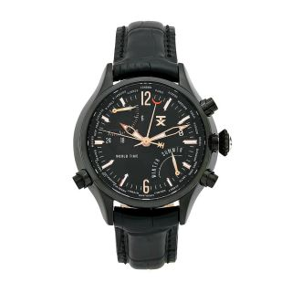 TX Mens World Time Black Leather Strap Black Dial Watch