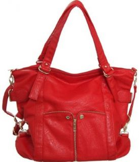 Bright Red Large Waverly Cross body Convertible Tote