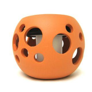 Round Ceramic Solar Lights Pot with Bubble Cutouts
