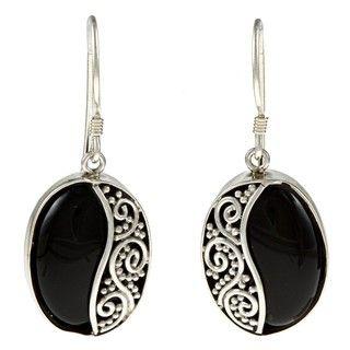 Lily B Sterling Silver Black Onyx Beaded Swirl Earrings