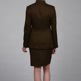 John Meyer Womens Mandarin Collar Leather Arrows Detail Skirt Suit