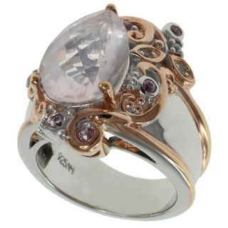 Michael Valitutti Rose Quartz and Pink Sapphire Ring