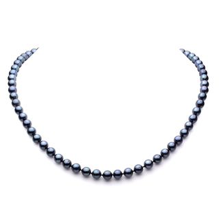 DaVonna 14k Gold Black Akoya Pearl High Luster 16 inch Necklace (6.5 7
