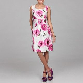 Ceces New York Womens White/ Fuchsia Floral Dress