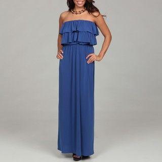 Suzi Chin Womens Porcelain Blue Ruffled Maxi Dress